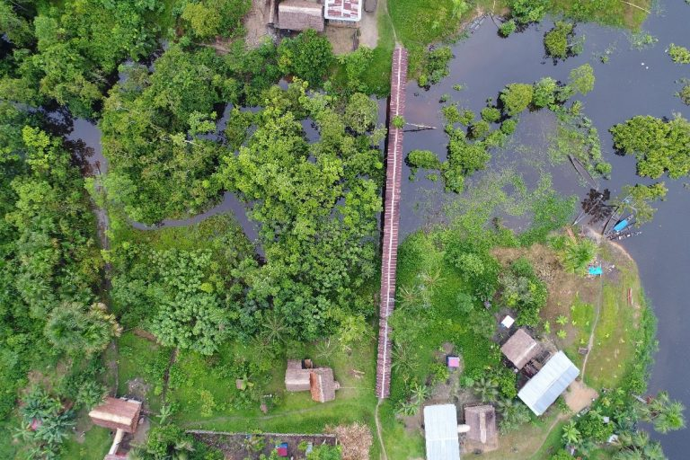 Drönarbild över dammområde.